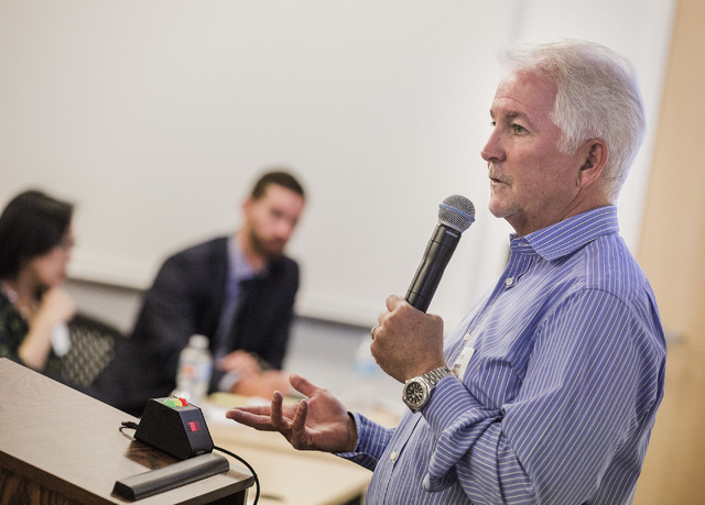 John Redmond, president and director of Allegiant, speaks, Tuesday, Nov. 29, 2016, during Investors Day at the company's headquarters, 1201 N. Town Center Drive in Summerlin. About 40 airline anal ...