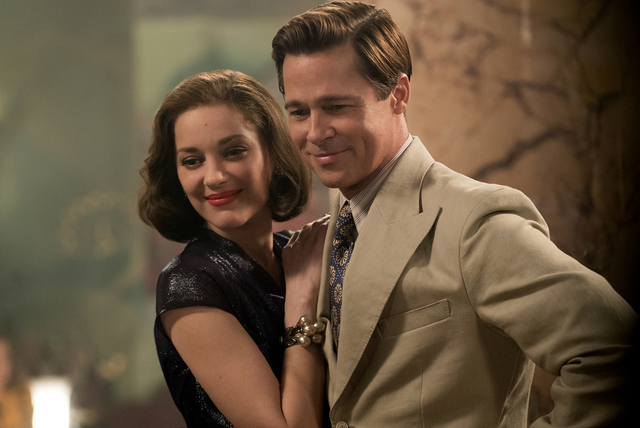 """Brad Pitt and Marion Cotillard play World War II secret agents who accidentally fall in love during a mission, get married and are pitted against each other in """"Allied."""" (Paramount Pictures)"""