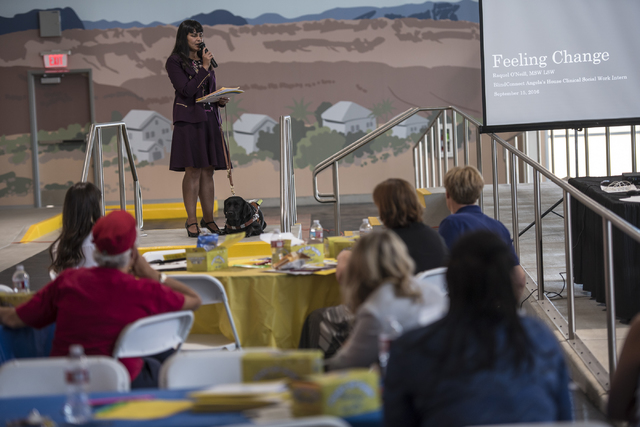 Raquel O'Neill speaks during a Las Vegas Chapter of the Foundation Fighting Blindness meeting at the RTC Mobility Training Center on Thursday, Sept. 15, 2016. Joshua Dahl/Las Vegas Review-Journal