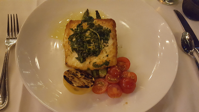 Pacific halibut with asparagus and cherry tomatoes at The Angry Butcher inside Sam's Town's Mystic Falls park, 5111 Boulder Highway, Oct. 9, 2016. Anne King/View