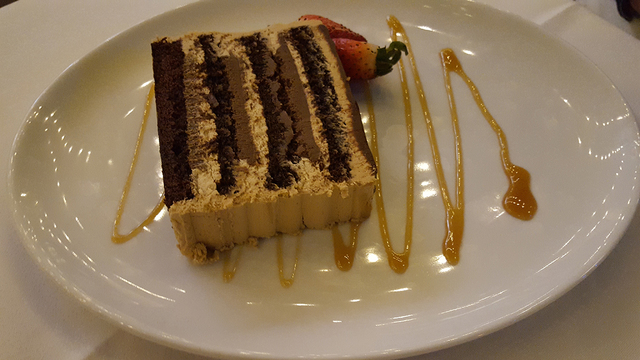 Chocolate espresso layer cake at The Angry Butcher inside Sam's Town's Mystic Falls park, 5111 Boulder Highway, Oct. 9, 2016. Anne King/View