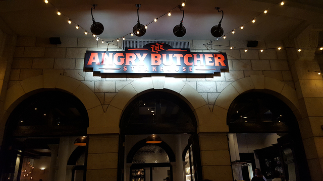 The Angry Butcher's sign is underlit inside Sam's Town's Mystic Falls park, 5111 Boulder Highway, Oct. 9, 2016. Anne King/View