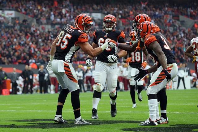 Cincinnati Bengals tight end Tyler Eifert (85) celebrates with teammates after scoring a touchdown during an NFL Football game between Cincinnati Bengals and Washington Redskins at Wembley Stadium ...