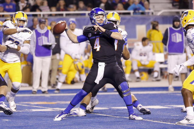Boise State quarterback Brett Rypien (4) passes the ball during the first half of an NCAA college football game against San Jose State in Boise, Idaho, Friday, Nov. 4, 2016. Boise State won 45-31. ...