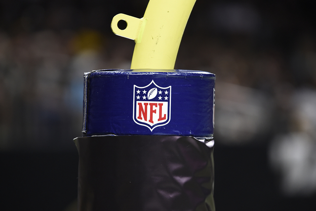 A NFL logo is seen on a goal post during the second half of an NFL preseason football game between the New Orleans Saints and the Pittsburgh Steelers, Friday, Aug. 26, 2016, in New Orleans. (Bill  ...