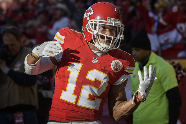 Kansas City Chiefs wide receiver Albert Wilson (12) celebrates a touchdown pass against the Tampa Bay Buccaneers during the second half of their NFL football game in Kansas City, Mo., Sunday, Nov. ...