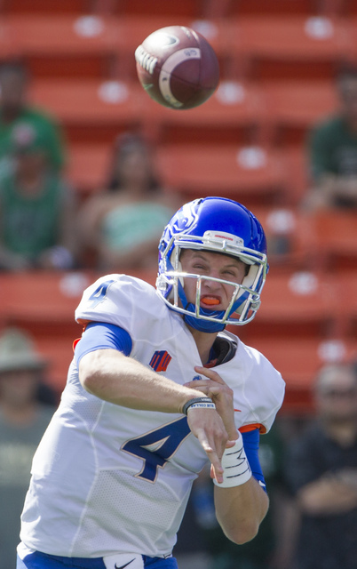 Boise State quarterback Brett Rypien (4) throws a  pass in the first quarter of an NCAA college football game, Saturday, Nov. 12, 2016, in Honolulu. (Eugene Tanner/AP)