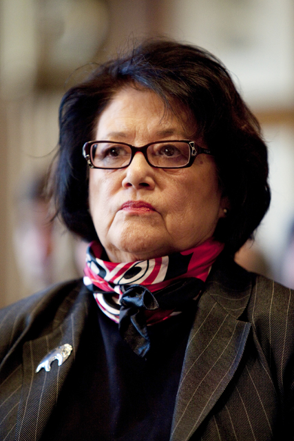 Elouise Cobell watches a Senate Indian Affairs Committee hearing on the multi-billion dollar Cobell v Salazar law suit regarding decades of mismanagement of Indian lands in Washington. (Evan Vucci/AP)