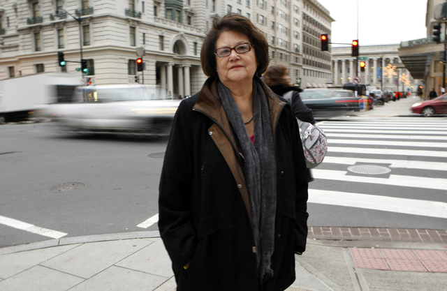 Elouise Cobell outside the law offices of Kilpatrick & Stockton in Washington. (Gerald Herbert/AP)