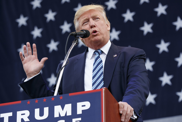 Republican presidential candidate Donald Trump speaks during a campaign rally, Friday, Oct. 14, 2016, in Greensboro, N.C. (AP Photo/ Evan Vucci)