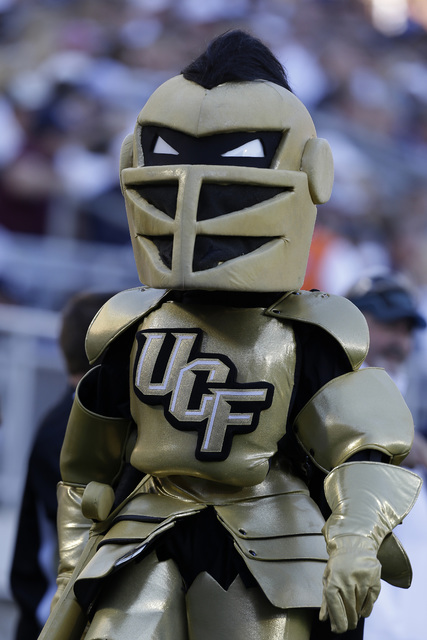 The Central Florida Knights mascot walks the sidelines during an NCAA college football game between Penn State and Central Florida in State College, Pa., Saturday, Sept. 14, 2013. Central Florida  ...