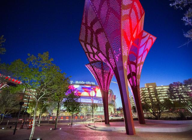 Sculptures and the T-Mobile Arena is seen on Wednesday, March 23, 2016. (Jeff Scheid/Las Vegas Review-Journal Follow @jlscheid)