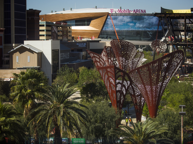 A view of The Park and T Mobile Arena between New York-New York and Monte Carlo is seen on Thursday, March 24, 2016. (Jeff Scheid/Las Vegas Review-Journal Follow @jlscheid)