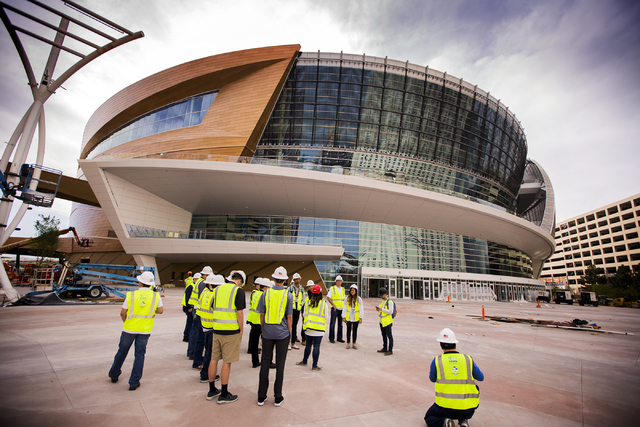 Members of the Pac-12 media tour the T-Mobile Arena on Saturday, March 12, 2016. (Jeff Scheid/Las Vegas Review-Journal Follow @jlscheid)