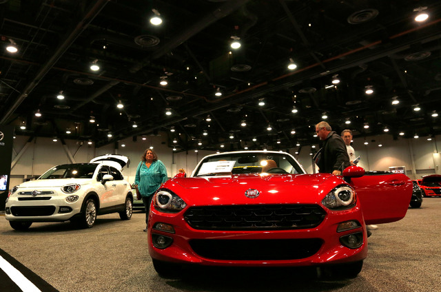 Fiat models are displayed during the Motor Trend International Auto Show at the Las Vegas Convention Center in Las Vegas, Sunday, Nov. 27, 2016. Chitose Suzuki/Las Vegas Review-Journal