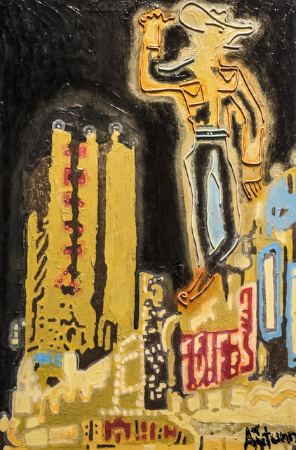 """A painting by Autumn de Forest titled """"Electric Cowboy"""" hangs in the Gallery of Music & Art  on Monday, Nov. 7, 2016, in Las Vegas.  Benjamin Hager/Las Vegas Review-Journal"""