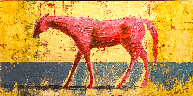 """A painting by Autumn de Forest titled """"Gold Horse"""" hangs in the Gallery of Music & Art  on Monday, Nov. 7, 2016, in Las Vegas.  Benjamin Hager/Las Vegas Review-Journal"""