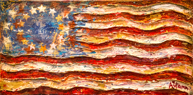 """A painting by Autumn de Forest titled """"Healing Flag"""" hangs in the Gallery of Music & Art  on Monday, Nov. 7, 2016, in Las Vegas.  Benjamin Hager/Las Vegas Review-Journal"""
