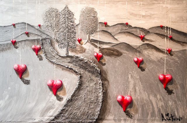 """A painting by Autumn de Forest titled """"Dripping Hearts"""" hangs in the Gallery of Music & Art  on Monday, Nov. 7, 2016, in Las Vegas.  Benjamin Hager/Las Vegas Review-Journal"""