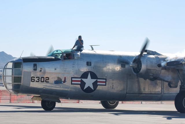 The crew of a PB4Y-2 Privateer starts up the engines before a performance at the 2016 Aviation Nation air show on Nellis Air Force Base in Las Vegas on Friday, Nov. 11, 2016. Brett Le Blanc/Las Ve ...