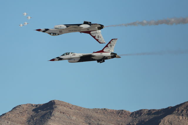 The Thunderbirds perform during the 2016 Aviation Nation air show on Nellis Air Force Base in Las Vegas on Friday, Nov. 11, 2016. Brett Le Blanc/Las Vegas Review-Journal Follow @bleblancphoto