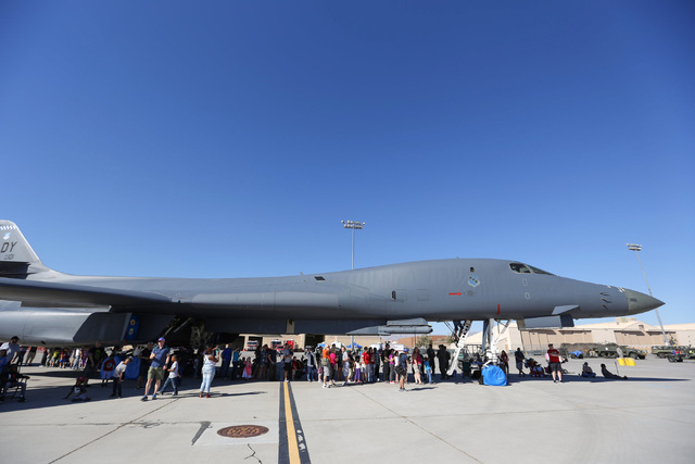 People line up to tour the interior of a B-1 Lancer during the 2016 Aviation Nation air show on Nellis Air Force Base in Las Vegas on Friday, Nov. 11, 2016. Brett Le Blanc/Las Vegas Review-Journal ...