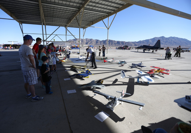 Radio Controlled airplane on display during the 2016 Aviation Nation air show on Nellis Air Force Base in Las Vegas on Friday, Nov. 11, 2016. Brett Le Blanc/Las Vegas Review-Journal Follow @blebla ...