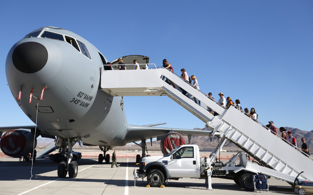 People line up to tour the interior of a KC-10 Extender during the 2016 Aviation Nation air show on Nellis Air Force Base in Las Vegas on Friday, Nov. 11, 2016. Brett Le Blanc/Las Vegas Review-Jou ...