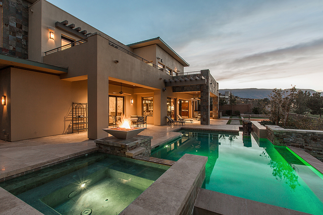 The home has fire features, pool and spa. (Courtesy)