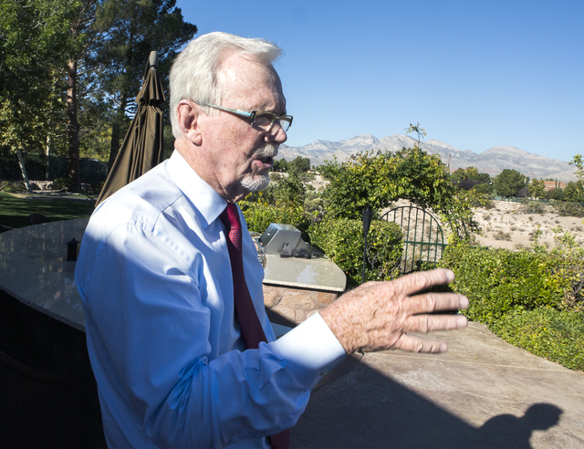 Gaming attorney and resident Frank Schreck discusses the proposed land rezoning while standing  in his backyard at Badlands Golf Course on Monday, Nov., 7, 2016. Jeff Scheid/Las Vegas Review-Journ ...