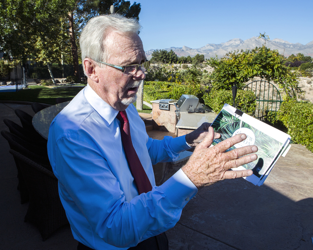 Gaming attorney and resident Frank Schreck discusses the proposed land rezoning while standing  in his backyard at Badlands Golf Course on Monday, Nov. 7, 2016. Jeff Scheid/Las Vegas Review-Journa ...