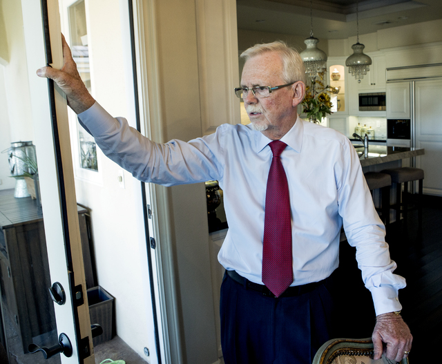Gaming attorney and resident Frank Schreck discusses the proposed land rezoning while standing  inside his home at Badlands Golf Course on Monday, Nov, 7, 2016. Jeff Scheid/Las Vegas Review-Journa ...