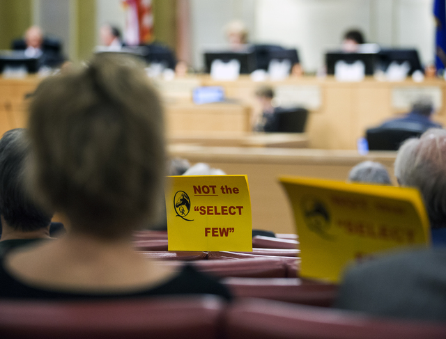 People gather at Las Vegas City Council during a public hearing on the controversial large-scale development on the Badlands Golf Course on Wednesday, Nov.16, 2016. Jeff Scheid/Las Vegas Review-Jo ...