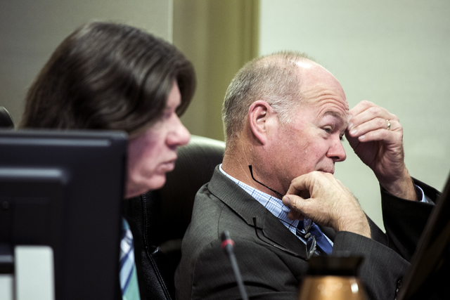 Las Vegas Councilman Bob Beers, right, who represents Ward 4 which includes Queensridge, and Las Vegas City attorney Brad Jerbic, during a Las Vegas City Council public hearing on the controversia ...
