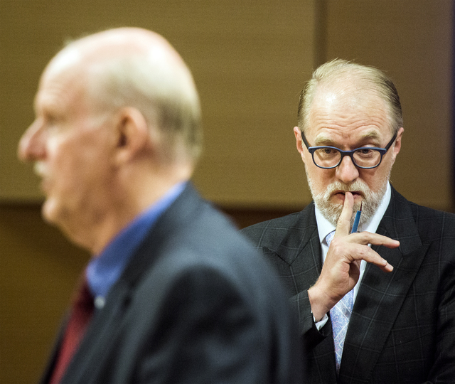 Attorney Todd Bice, right, representing residents of  Queensridge, listens while attorney Chris Kaempfer, representing developer EHB Companies, during a Las Vegas City Council public hearing on th ...