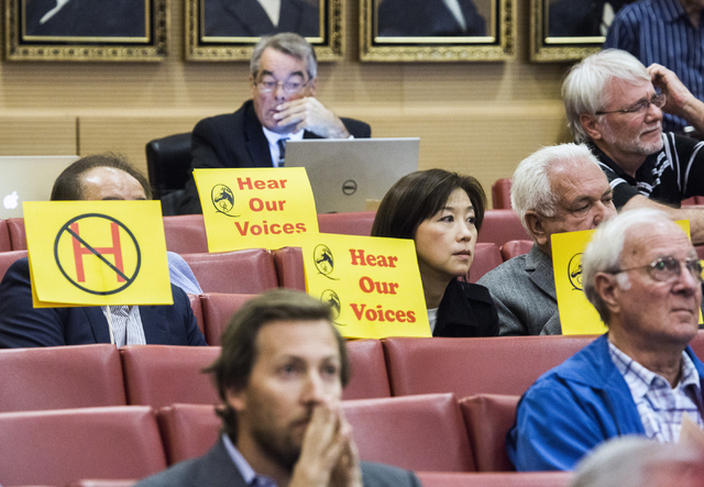 People gather during a Las Vegas City Council public hearing on the controversial large-scale development on the Badlands Golf Course on Wednesday, Nov.16, 2016. Jeff Scheid/Las Vegas Review-Journ ...