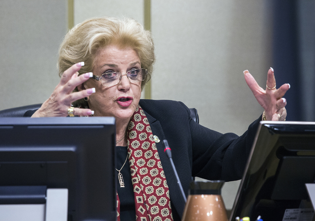Las Vegas Mayor Carolyn Goodman addresses attorneys during a Las Vegas City Council public hearing on the controversial large-scale development on the Badlands Golf Course on Wednesday, Nov.16, 20 ...