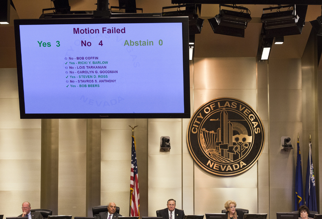 Members of the Las Vegas City Council cast votes on the  controversial large-scale development on the Badlands Golf Course on Wednesday, Nov. 16, 2016. The council voted 4-3 to deny the 720-unit m ...