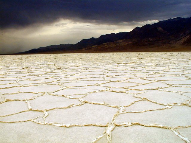 Storm clouds build over Badwater Basin in this undated photo from Death Valley National Park in California. (National Park Service)