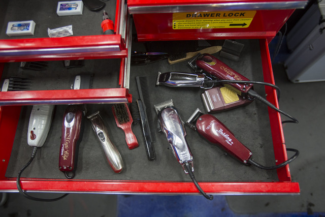 A variety of hair shavers at Masterpiece Barber College in Las Vegas, Thursday, Oct. 20, 2016. (Richard Brian/Las Vegas Review-Journal Follow @vegasphotograph)