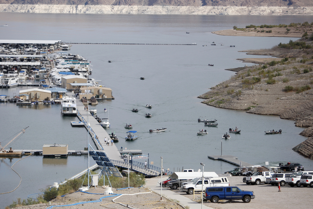 Professional anglers come into Callville Bay Marina on Lake Mead to have their catches weighed during the NITRO Mercury WON Bass U.S. Open bass fishing tournament Monday, Sept. 9, 2013. (K.M. Cann ...