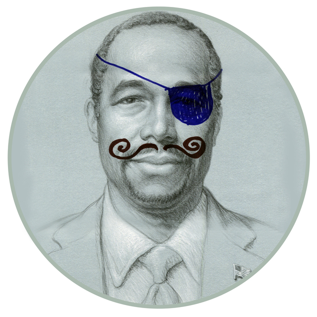 A pirate eyepatch and curling mustache adorn a portrait of Ben Carson, one of 22 presidential candidates depicted on a series of commemorative plates. (Diane Bush)