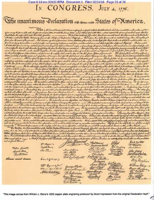 """Thomas Benson, an accused sovereign citizen in Las Vegas, filed this copy of the Declaration of Independence in Kansas federal court in February. His full name, written in lower-case as """" ..."""