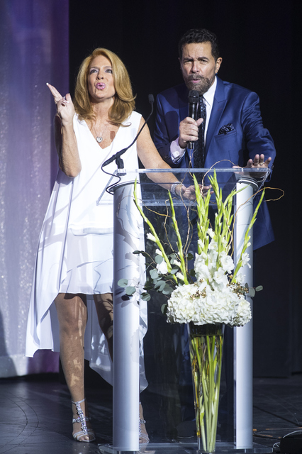 Clint Holmes, from right, and Kelly Clinton speak during the Best of Las Vegas Show at The Venetian Las Vegas hotel-casino on Saturday, Nov. 5, 2016. Loren Townsley/Las Vegas Review-Journal Follow ...