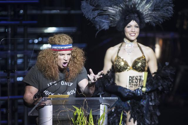 Carrot Top speaks during the Best of Las Vegas Show at The Venetian Las Vegas hotel-casino on Saturday, Nov. 5, 2016. Loren Townsley/Las Vegas Review-Journal Follow @lorentownsley