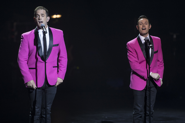 Toby Allen, right, and Andrew Tierney, from the Human Nature show, perform during the Best of Las Vegas Show at The Venetian Las Vegas hotel-casino on Saturday, Nov. 5, 2016. Loren Townsley/Las Ve ...