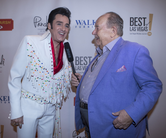 Steve Connolly, left, speaks with Robin Leach on the red carpet before the Best of Las Vegas Show at The Venetian Las Vegas hotel-casino on Saturday, Nov. 5, 2016. Loren Townsley/Las Vegas Review- ...