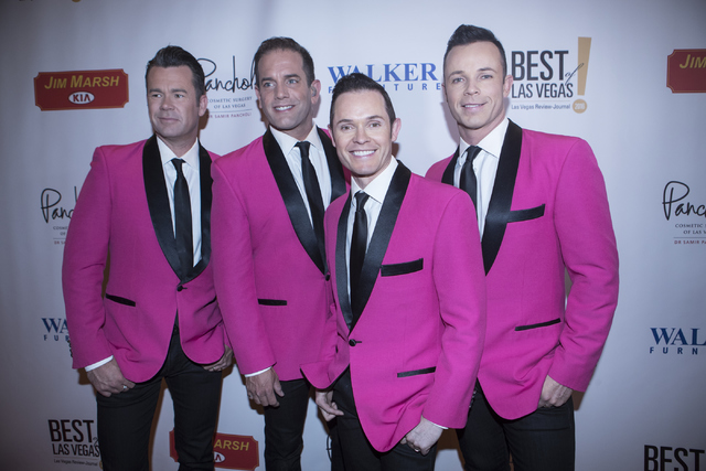 Phil Burton, from left, Toby Allen, Andrew Tierney and Michael Tierney, from the Human Nature show, walk on the red carpet before the Best of Las Vegas Show at The Venetian Las Vegas hotel-casino  ...