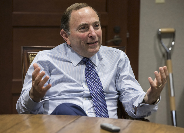 NHL commissioner Gary Bettman answers questions from the media on Tuesday, Nov. 22, 2016, in Las Vegas. Bettman was in town to take place in a ceremony unveiling Las Vegas' NHL expansion franchise ...