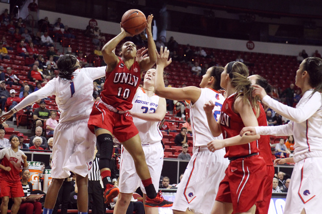 UNLV guard Nikki Wheatley, shown shooting in March 2015, had 14 points to help lead the Lady Rebels to a 64-57 win over Mississippi on Sunday at Cox Pavilion. (Sam Morris/Las Vegas Review-Journal)